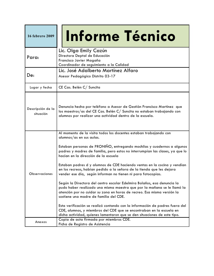 Partes Del Informe T 233 Cnico