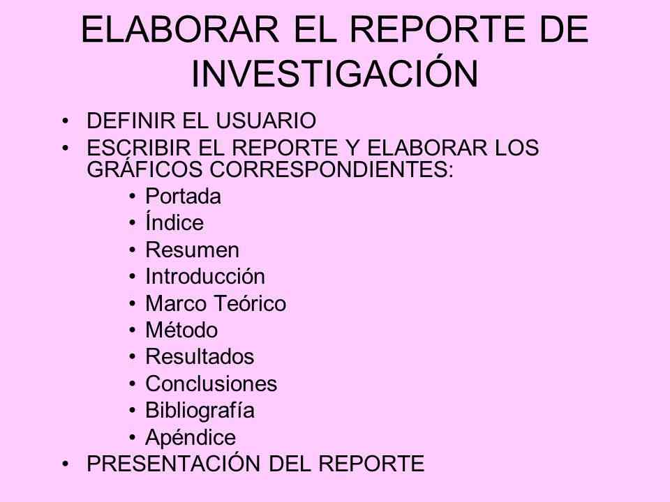 Partes de un reporte de investigación
